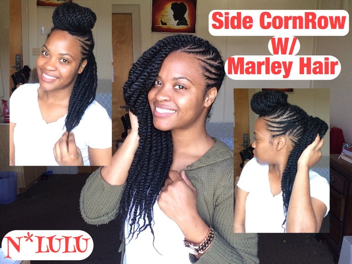 Side Cornrow With Marley Hair Protective Style Marley Hair Marley Braids Natural Hair Transitioning