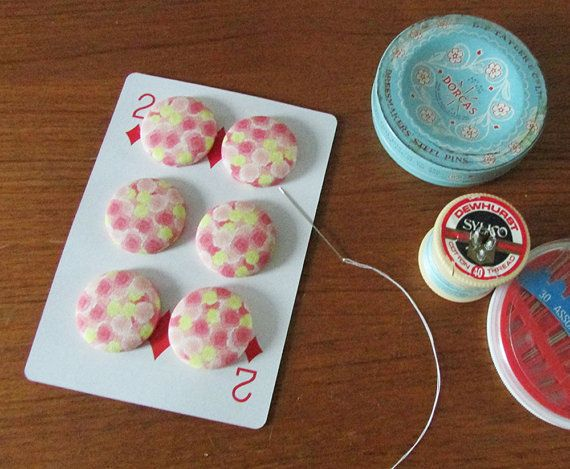 6 beautiful buttons covered in my by suecollarddesign on Etsy