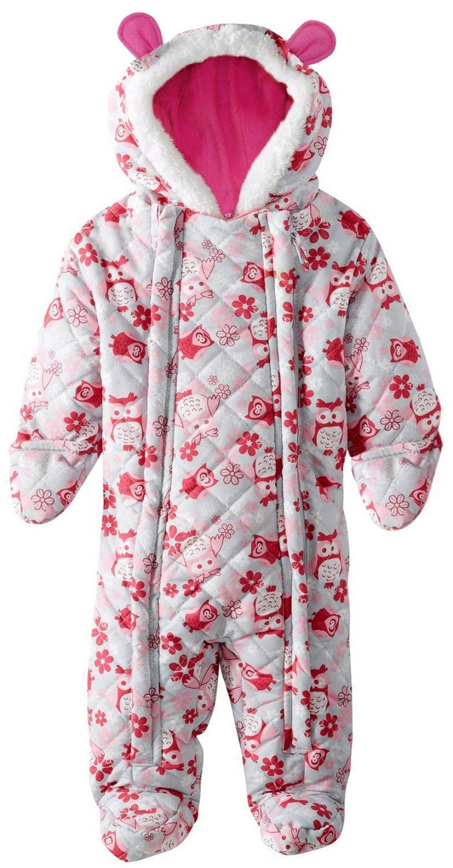 74d831c60 Pink Platinum Baby Girls Owl Microfleece Quilted Puffer Snow Pram ...