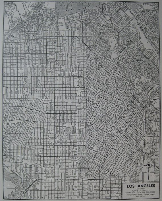 Vintage Los Angeles Map 1942 Black And White Map By Plaindealing