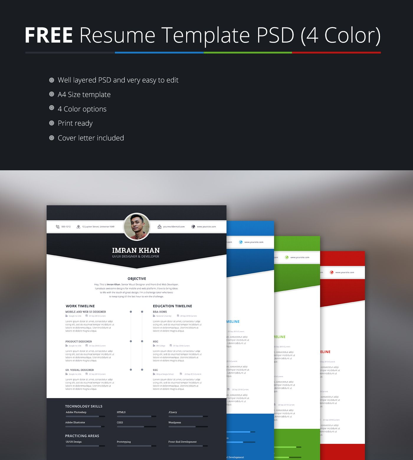 FREE Resume Template PSD (4 Colors) on Behance Resume