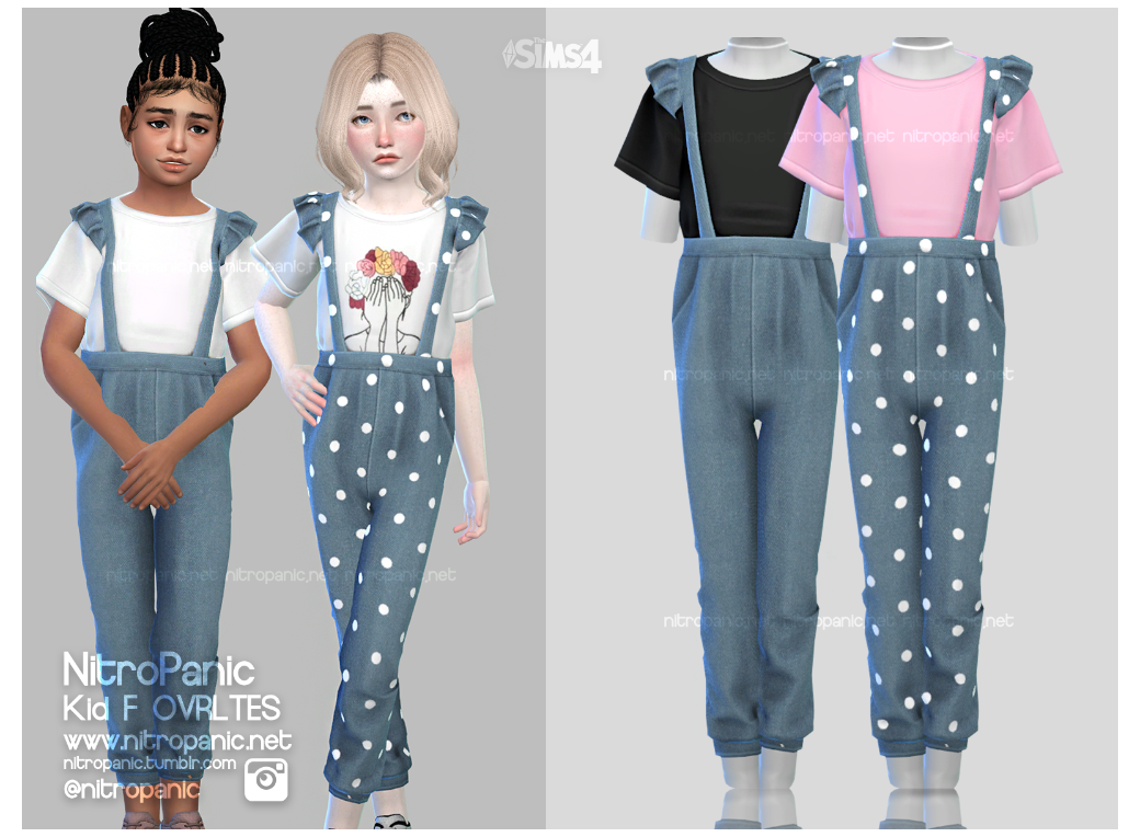 Kid F Ovrltes For The Sims 4 Kidclothes In 2020 Sims 4 Toddler Sims 4 Mods Clothes Sims 4 Dresses