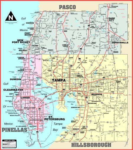 Florida Wall Maps WideArea by Mapsource Tampa bay Maps