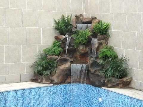 Cascada piedra laja natural youtube decoraci n for Jardines en piedra natural