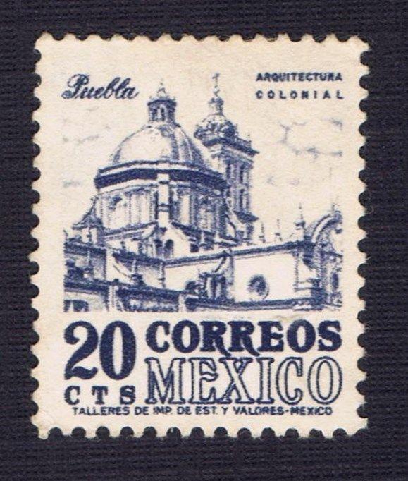 Unused blue 20 cts correos mexico postage stamp puebla for Correo postal mas cercano