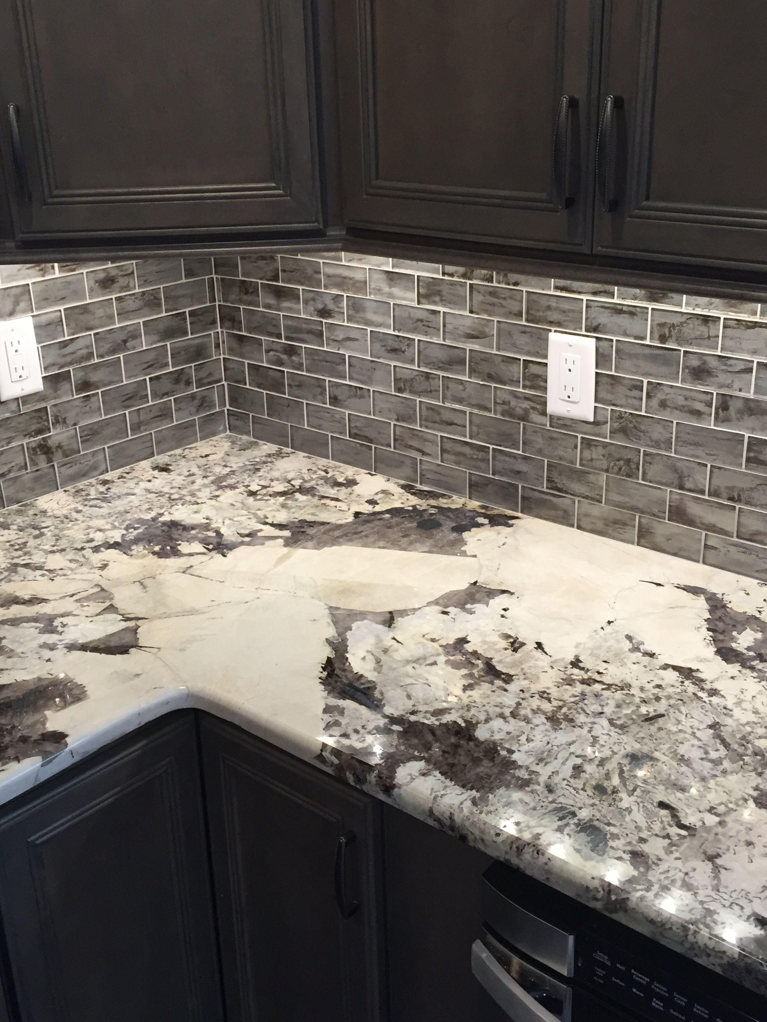 My Kitchen Grey Cabinets Grey Glass Subway Tiles Quartz