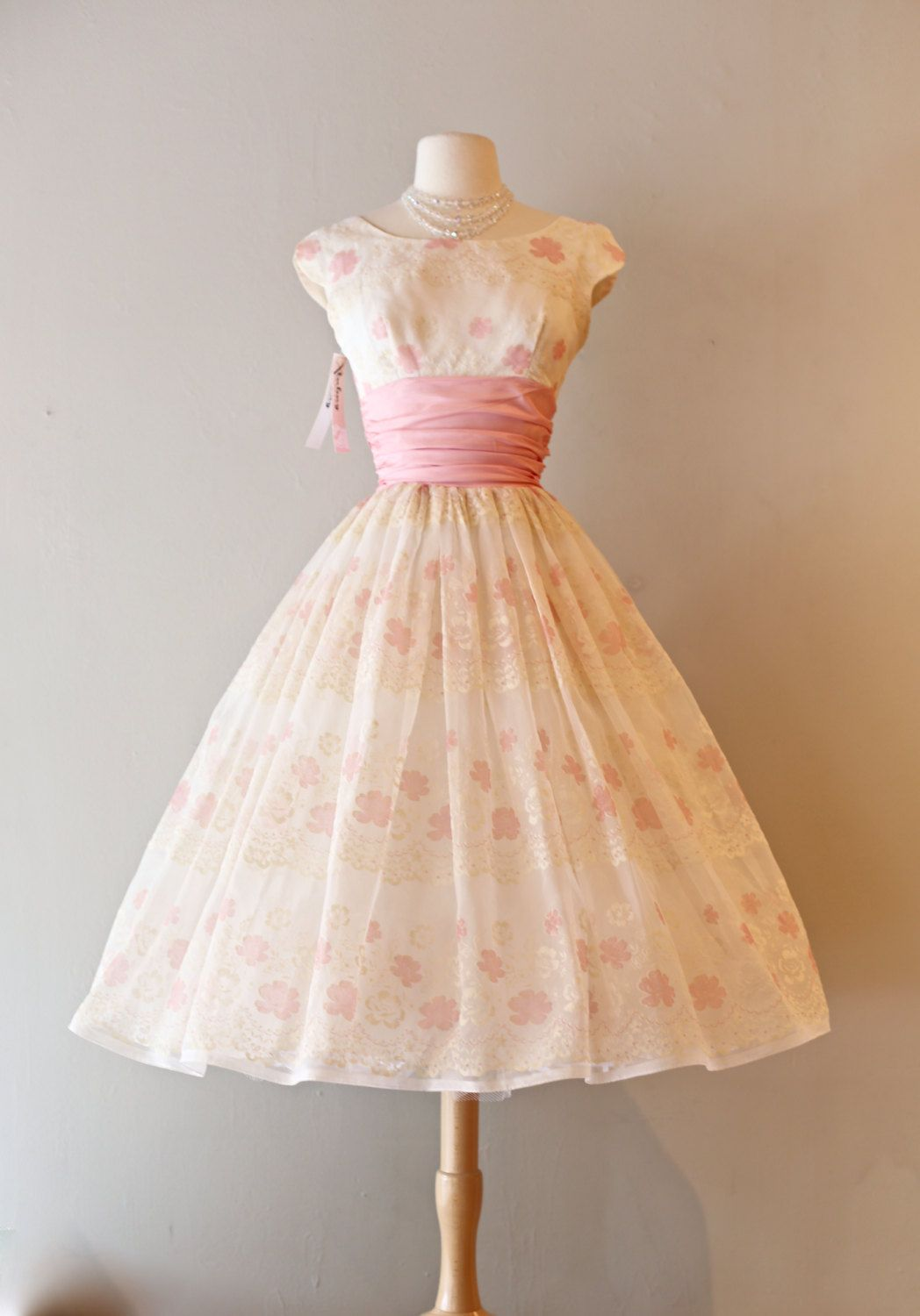 Vintage 1950's Rose Print Party Dress ~ Vintage 50s Pink Party Dress With Flocking and Full Skirt by xtabayvintage on Etsy