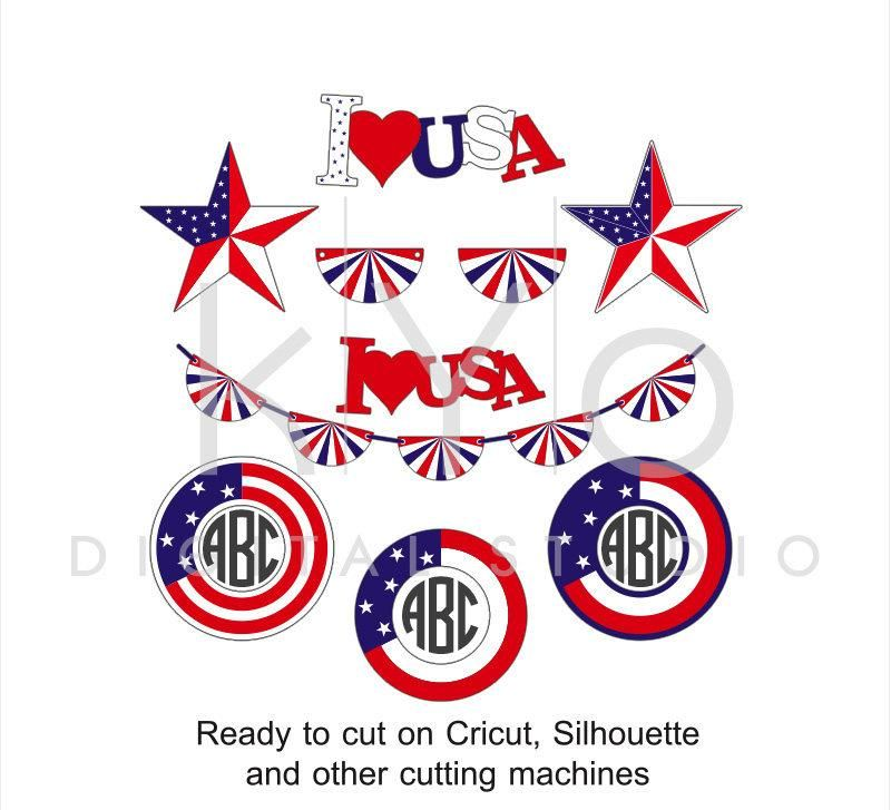 4th of July American US flag svg png dxf eps files Stars