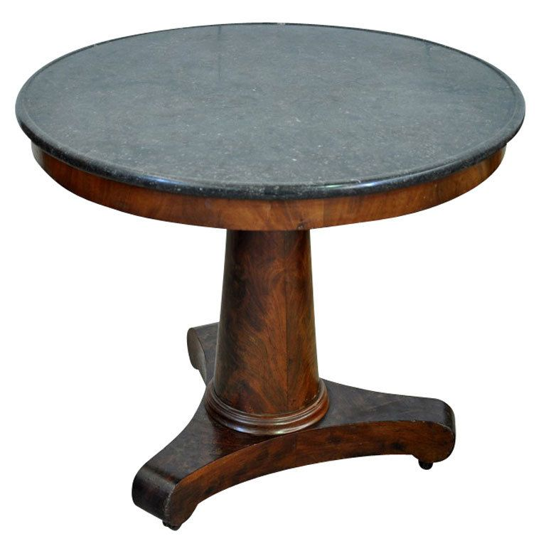 French Empire Period Round Table Gueridon In Mahogany And Marble