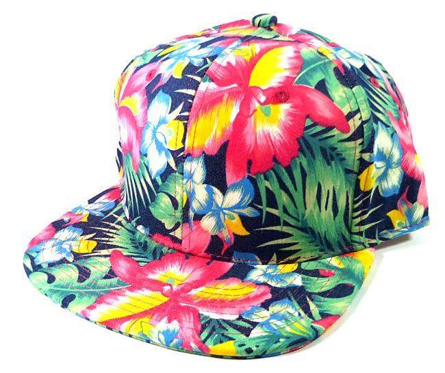 64c0bc0f Blank Floral Snapback Hats Caps Wholesale - Hawaiian Flowers Navy ...