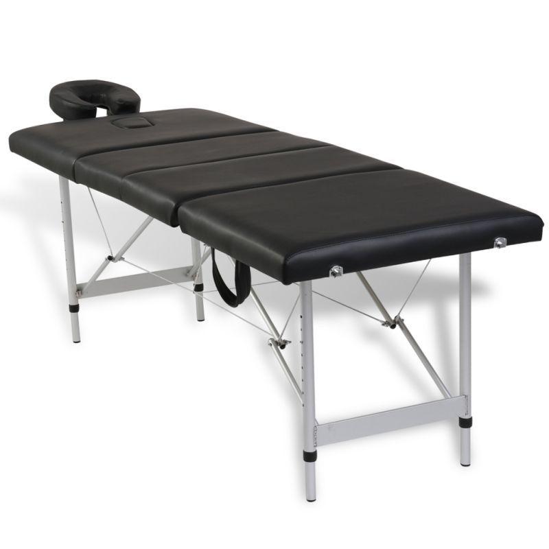 Aluminium Portable Massage Table 4 Fold Beauty Therapy Bed Waxing 68cm Black Massage Table Shiatsu Massage Diy Massage Oil