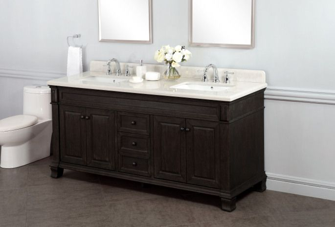 Kingsley 72 Double Sink Vanity With Alpine Mist Countertop Thru