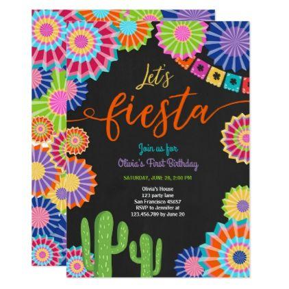 Lets Fiesta invitation Mexican Birthday Cactus birthday