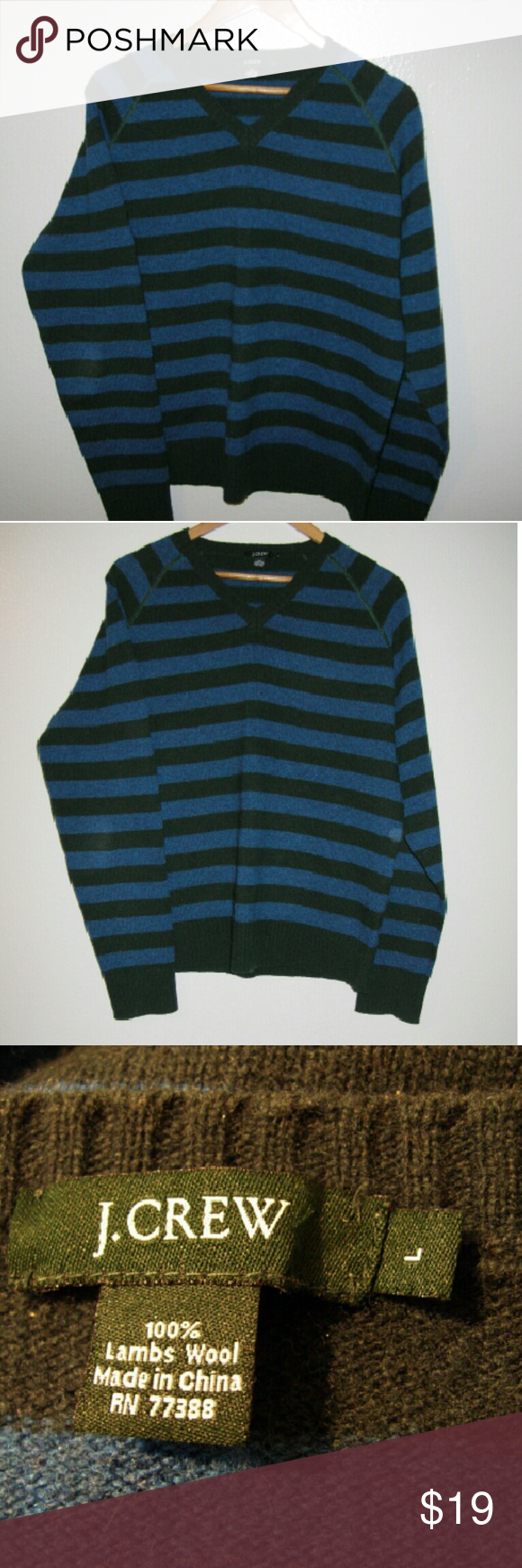 """J Crew vneck sweater striped L All wool casual loose sweater Bust 48"""" Long 26"""" Great condition! J. Crew Sweaters V-Necks"""