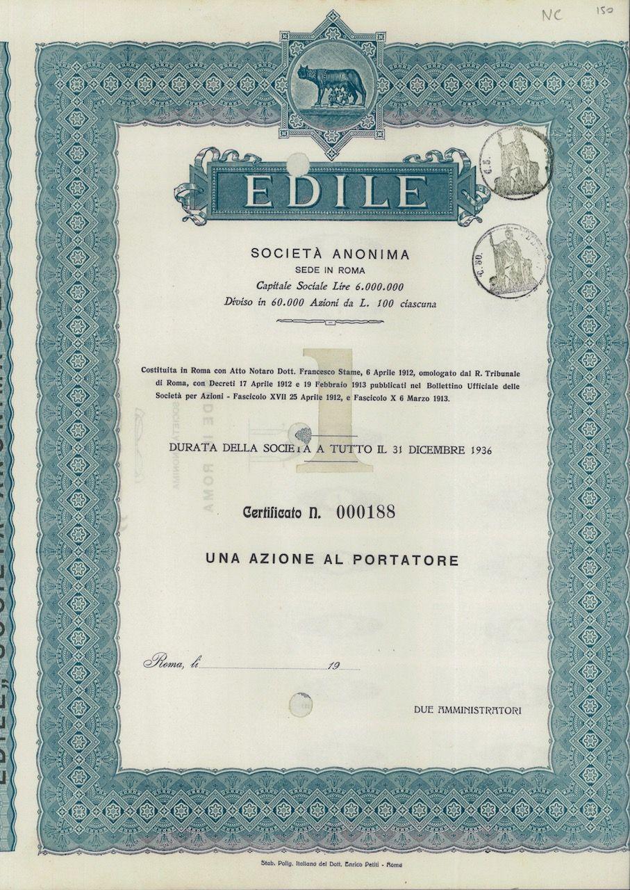 Edile Soc An Scripomarket Scriposigns Scripofilia