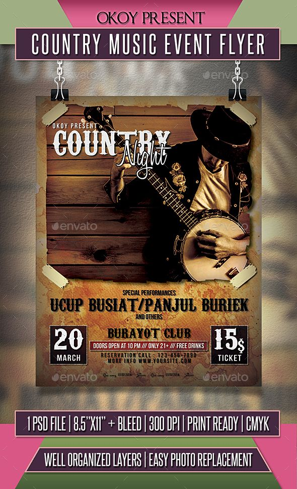 Country Music Event Flyer Event flyers, Country music and Event - event flyer templates