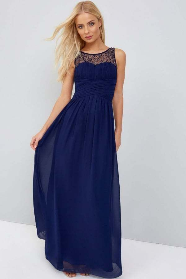 price reduced amazon save up to 80% Little Mistress Navy Embellished Maxi Dress Size UK 8 DH078 ...
