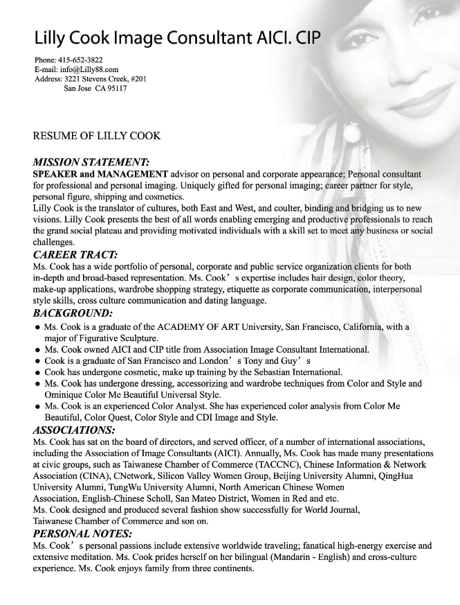 Image Consultant Resume Sample  HttpResumesdesignComImage