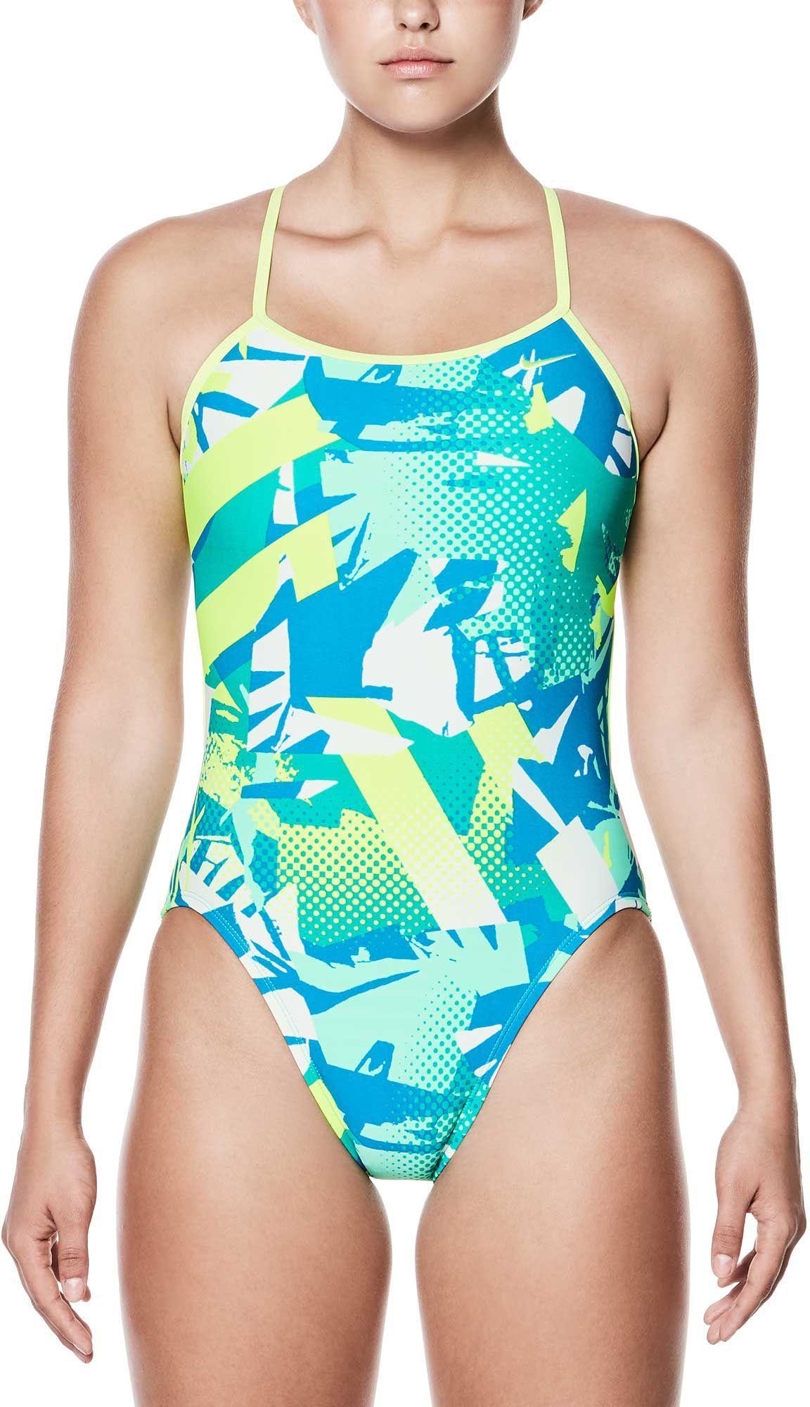 4a213d63d76 Nike Women's Drift Graffiti Modern V-Back Swimsuit, Size: 26, Green