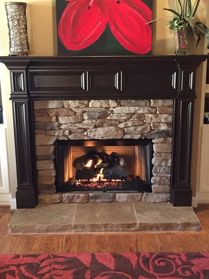 Beautiful picture of this #fireplace one of our customers sent us with stones that she added from our store! #Woerner #Birmingham