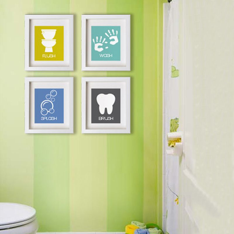 Cartoon Bathroom Symbols Canvas Painting Nursery Wall Art Posters ...