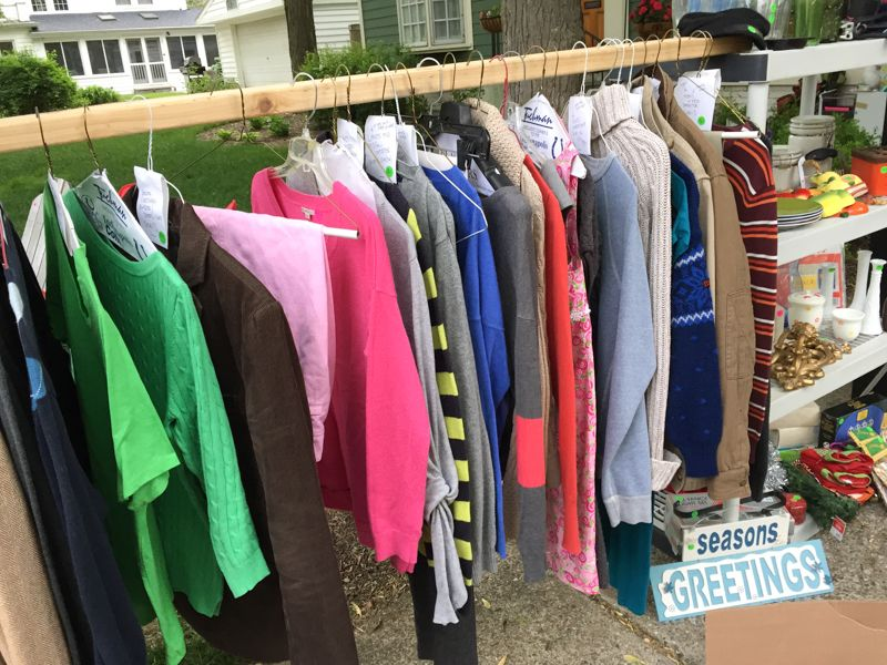 Yard Sale Tips Tricks How We Made 1549 Yard Sale Clothes Rack Yard Sale Clothes Garage Sale Clothes