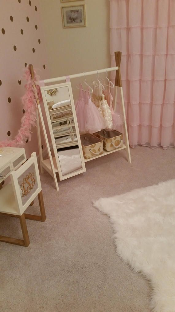 Dress Up Wardrobe Rack W Mirror Ivory With Gold Tips Toddlers Clothing Kids Play Full Length