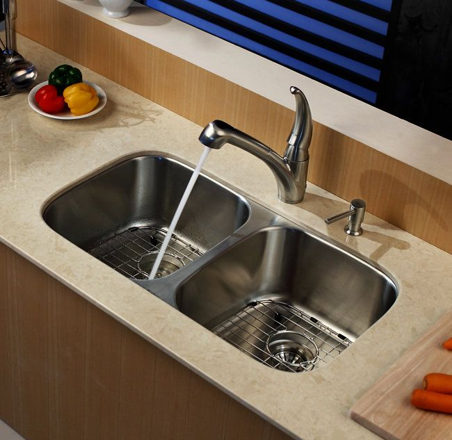 Kraus Kbu22 Stainless Steel Kitchen Sink Double Bowl Kitchen
