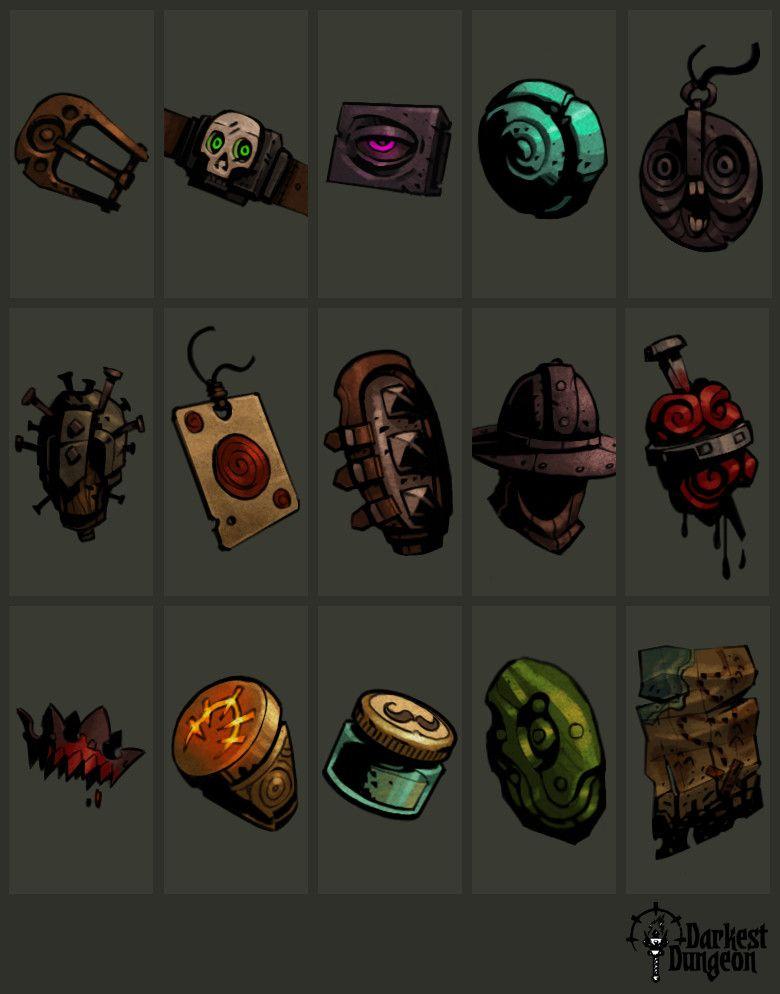 darkest dungeon best trinkets 2020 ArtStation   Darkest Dungeon Trinkets (Freelance), Luke Viljoen