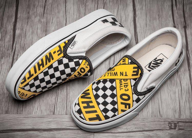 43e395b49d Vans Shop AMAC Customs OFF-WHITE x Vans Caution Slip On Skateboard Shoes   V062  - The Vans x OFF-WHITE Slip-On style fuse edgy and forward-thinking  design.