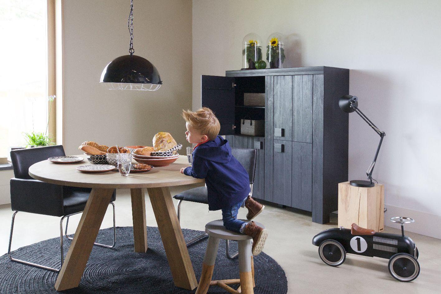 Woood Tafel Rond : Woood rhonda voorkeur eettafel rond cm zwart eiken met ronde