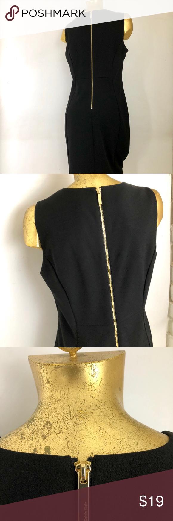 Calvin Klein Little Black Dress Zipper Back Dress Zipper Little Black Dress Calvin Klein [ 1740 x 580 Pixel ]