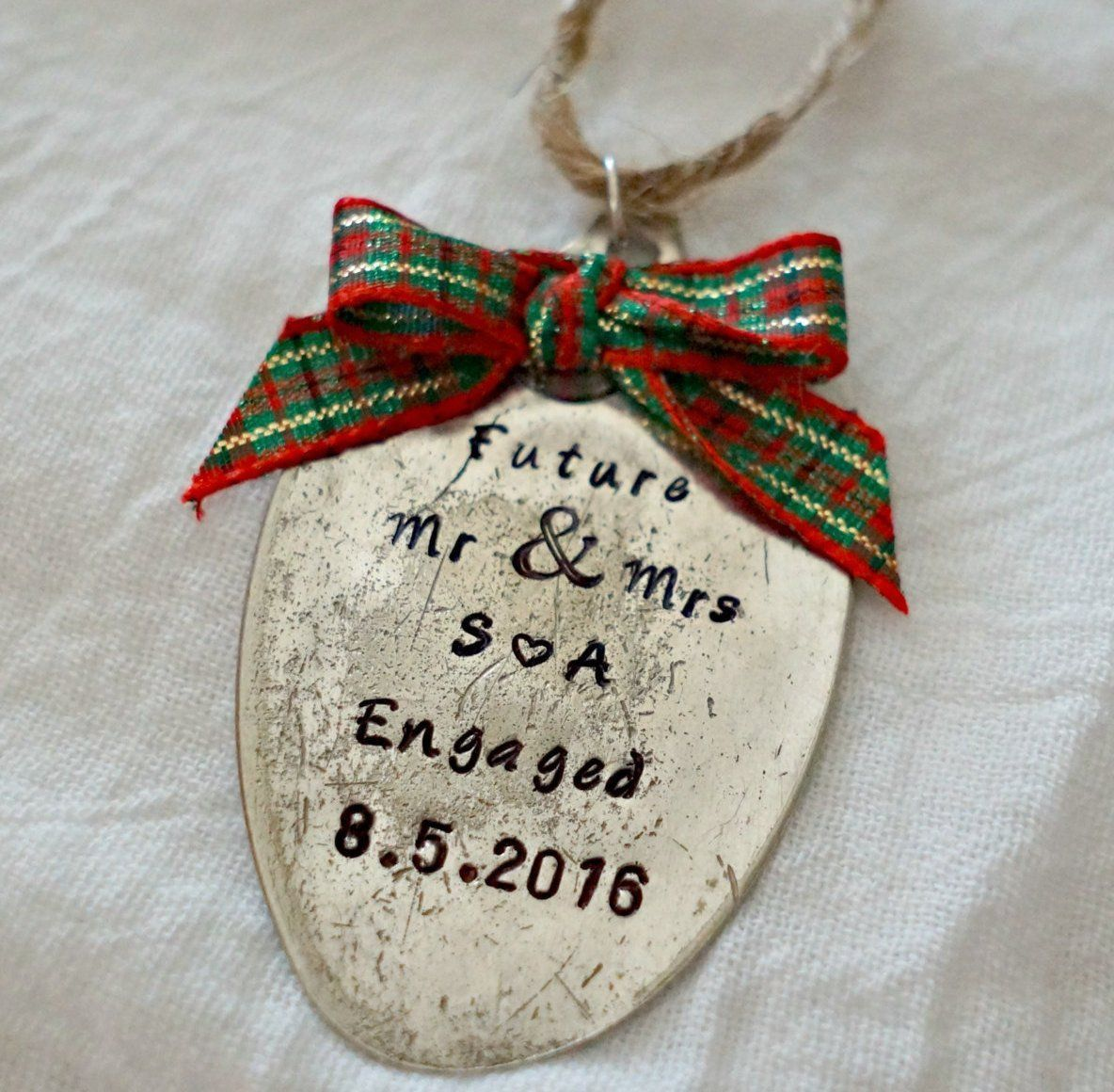 Custom engagement ornament stamped spoon ornament