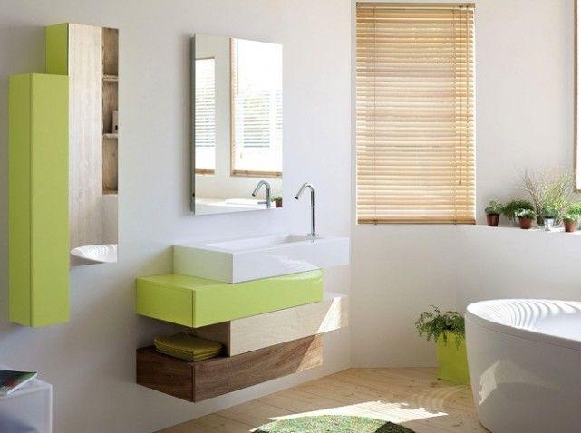 Salle de bains vert et bois sdb tage pinterest salles de bains verts salle de bains et salle for Photos sdb moderne