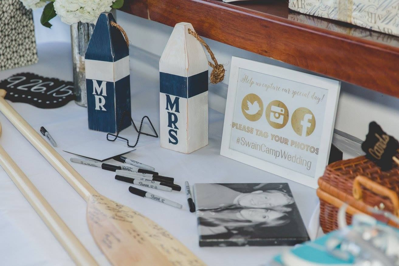 Wedding decorations to take abroad  nautical wedding decor Mr u Mrs buoyus u paddle guest books