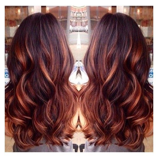 Dark Brown Hair With Caramel Highlights And Red Lowlights Liked On Polyvore Featuring Accessories Hair Accessor Hair Styles Long Hair Styles Cool Hair Color