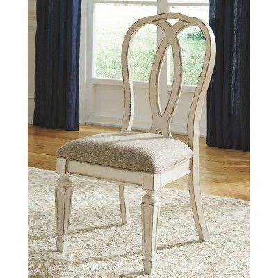 Set Of 2 Realyn Dining Upholstered Side Chair Chipped White Signature Design By Ashley Ashley Furniture Chairs Dining Room Chairs Upholstered Side Chair