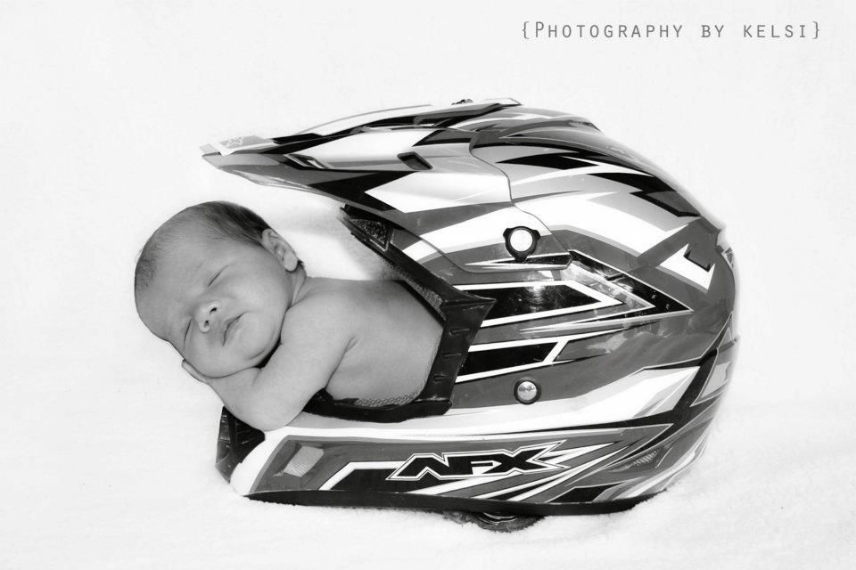 Newborn Session In Dirt Bike Helmet Photography By Kelsi Dirt