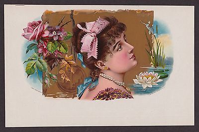 Cuban Beauty & Flowers on Vintage Original Cigar Box Label Art