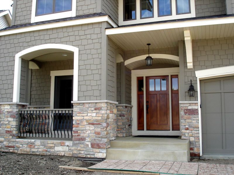Craftsman Style Front Door With Stone