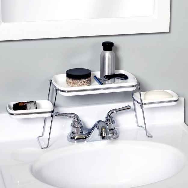 an over the faucet shelf for toiletries