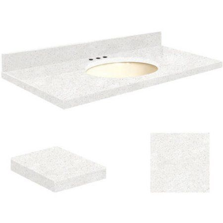 Transolid Quartz 37 Inch X 19 Inch Bathroom Vanity Top With Eased Edge, 8  Inch