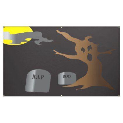HAUNTED GRAVEYARD BANNER - halloween decor diy cyo personalize - halloween office decorating ideas