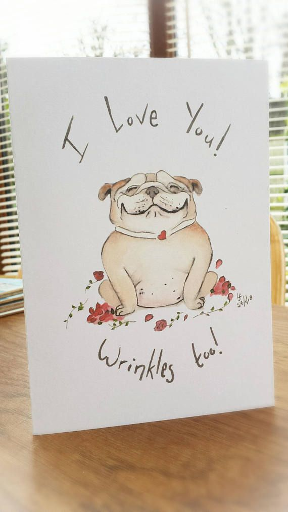 Bulldog card british bulldog love heart roses funny greetings bulldog card british bulldog love heart roses funny greetings card dog i love you watercolour gift birthday from the dog cards gifts from etsy m4hsunfo
