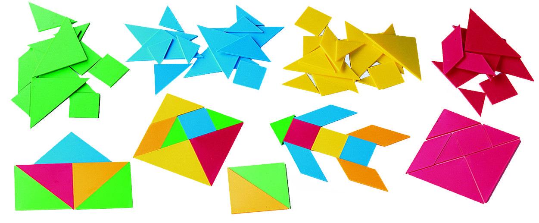 12 Tangram Plastico Contenedor Memoria Tangram Juegos