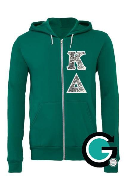 CUSTOM Stitched Greek (Sorority or Fraternity) Letter Color Me Bella Zip Hoodie -- Color your own letters! by GoneGreek on Etsy