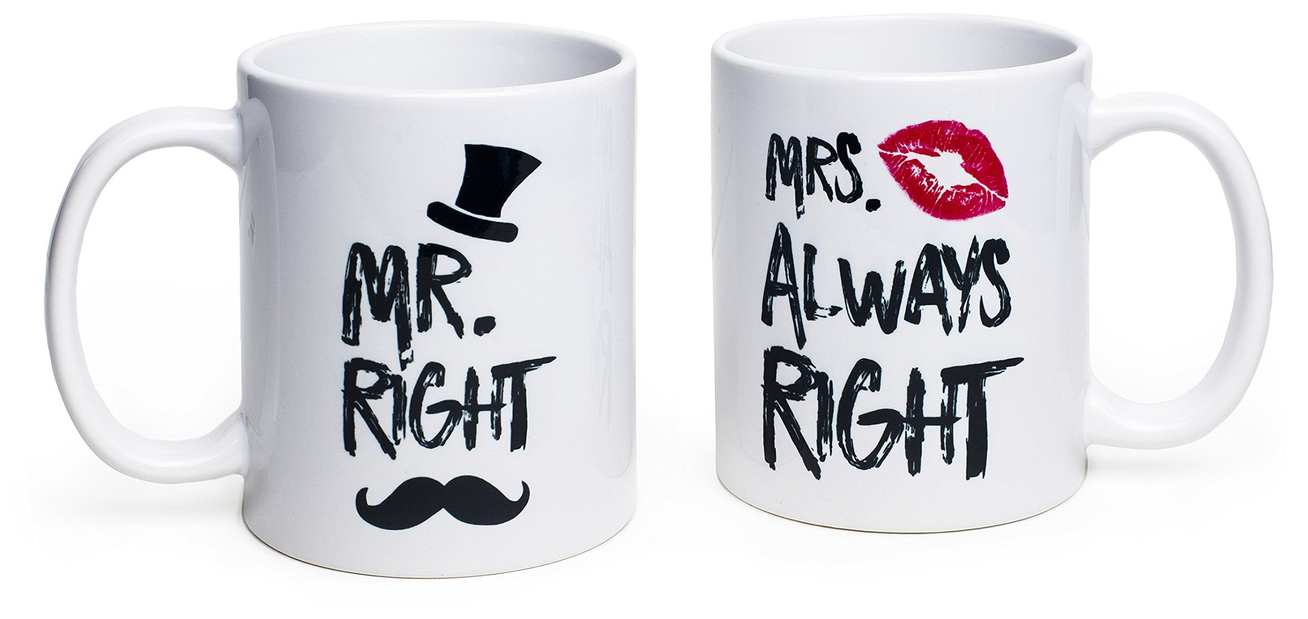 Funny Wedding Gifts Mr Right And Mrs Always Right Coffee Novelty