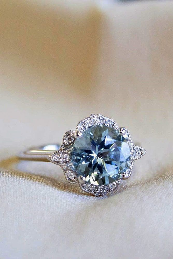 27 Aquamarine Engagement Rings For Romantic Girls #aquamarineengagementring