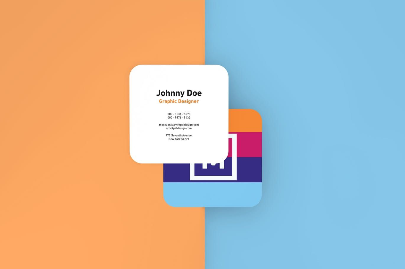 Round edges square business card mockups with images