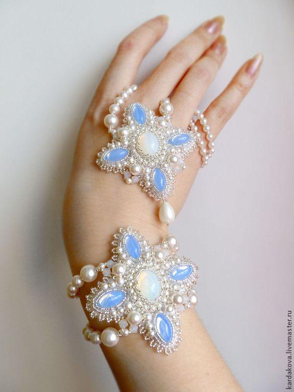 """Купить Комплект """"Winter dream"""" - свадебное украшение, комплект украшений, комплект браслет и серьги"""